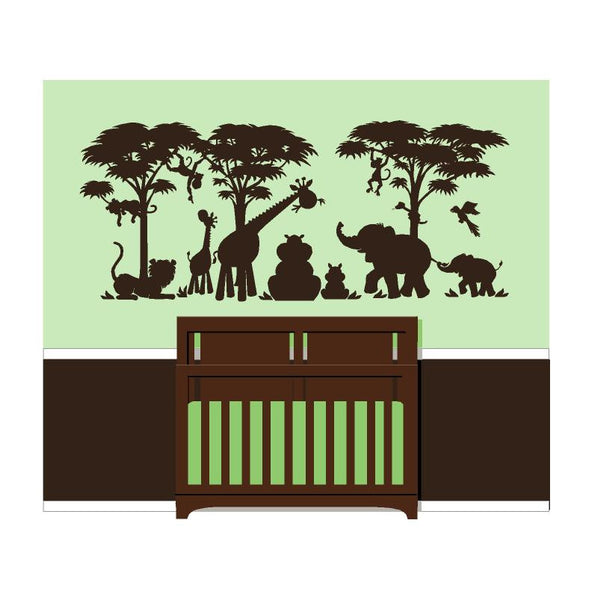 Small Silhouette Safari Wall Mural