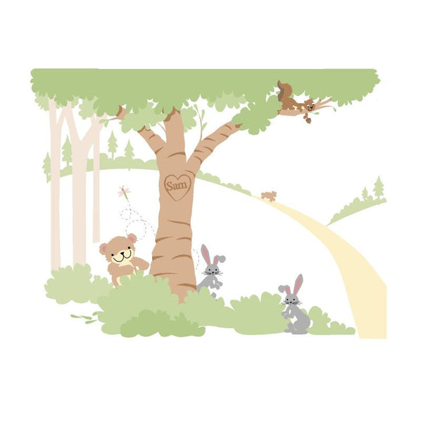 Teddy's Wooded Wonderland P1 Wall Mural