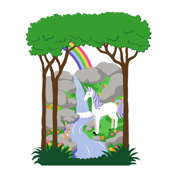 Large Unicorn & Rainbow Paint-by-Number Wall Mural