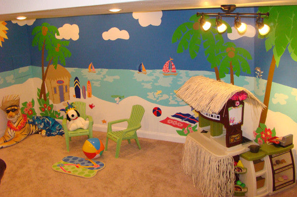 Wonderful ... Beach Scene Paint By Number Wall Mural ... Design Inspirations