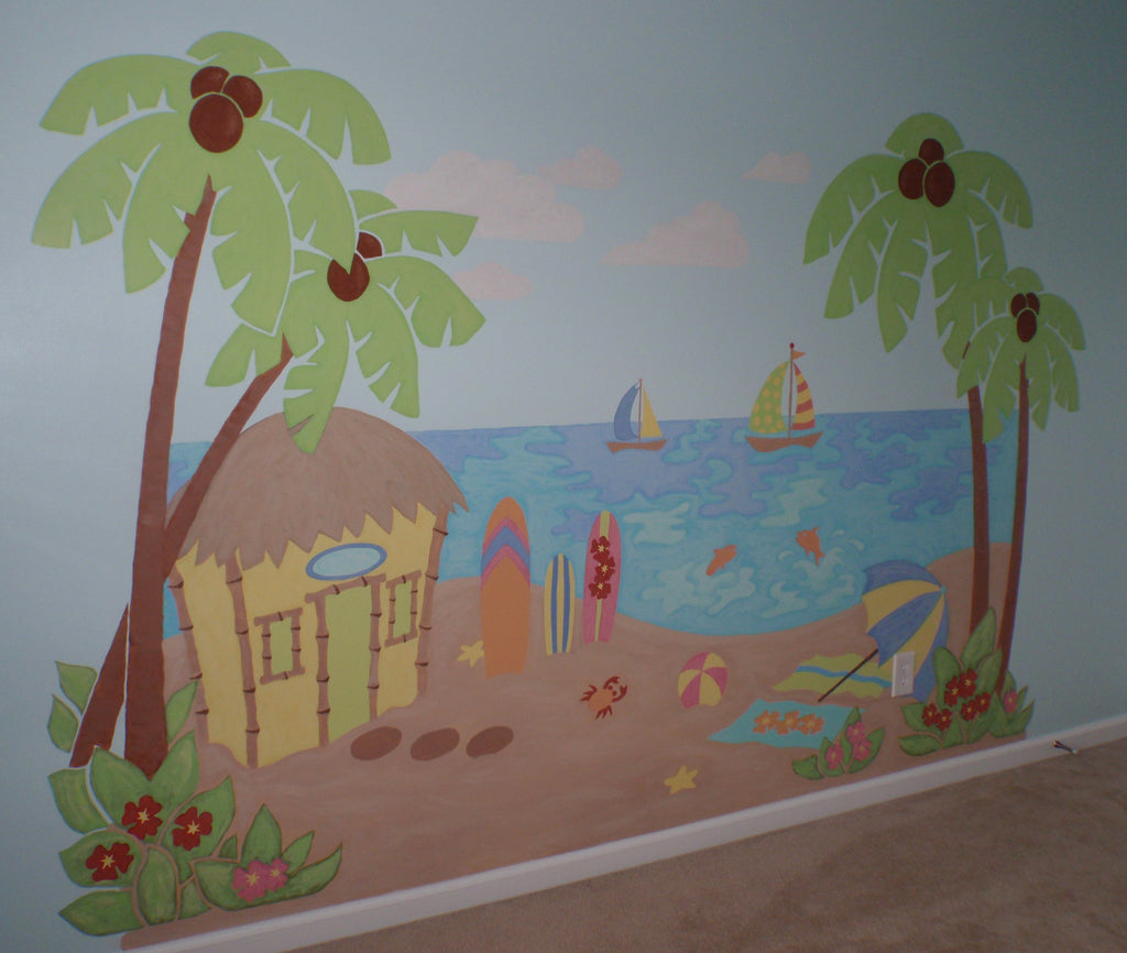 ... Beach Scene Paint By Number Wall Mural ...