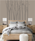Birch Tree Silhouettes Paint-by-Number Wall Mural