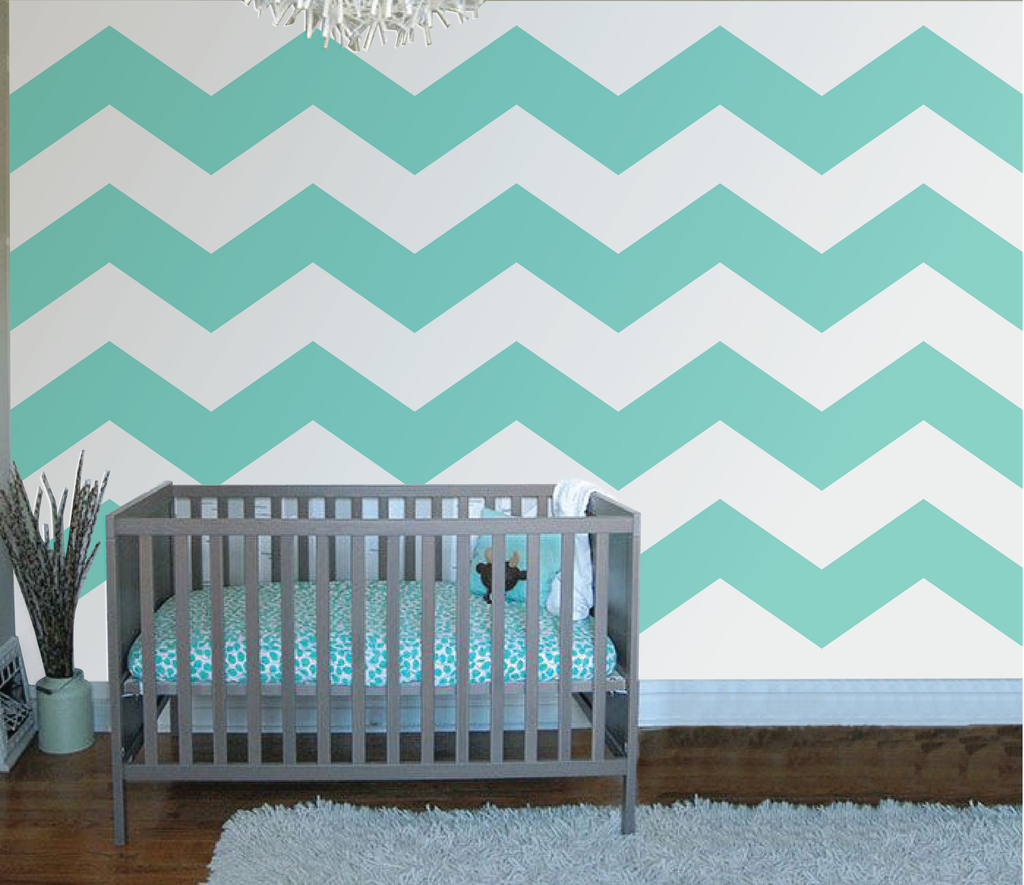 Children s murals diy paint by number wall murals -  Chevron Four Paint By Number Wall Mural