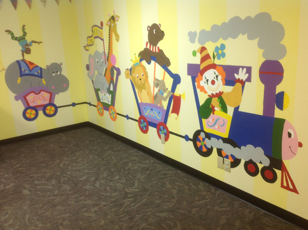 ... Hippo U0026 Monkey Circus Car Paint By Number Wall Mural ...