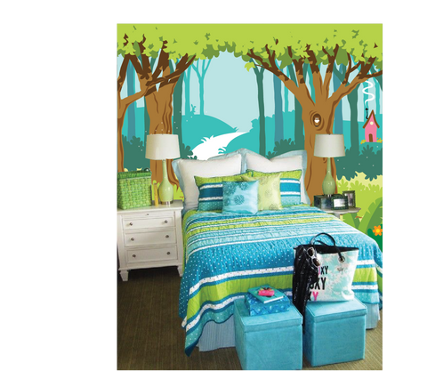 The Colorful Enchanted Forest Paint by Number Mural