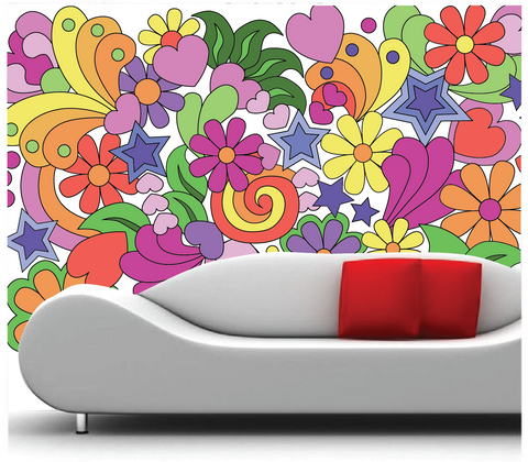 Flower Power Paint-by-Number Wall Mural