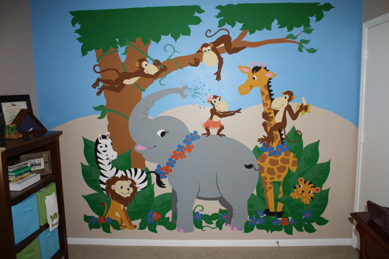 ... Jungle Hula Party Paint By Number Wall Mural ...
