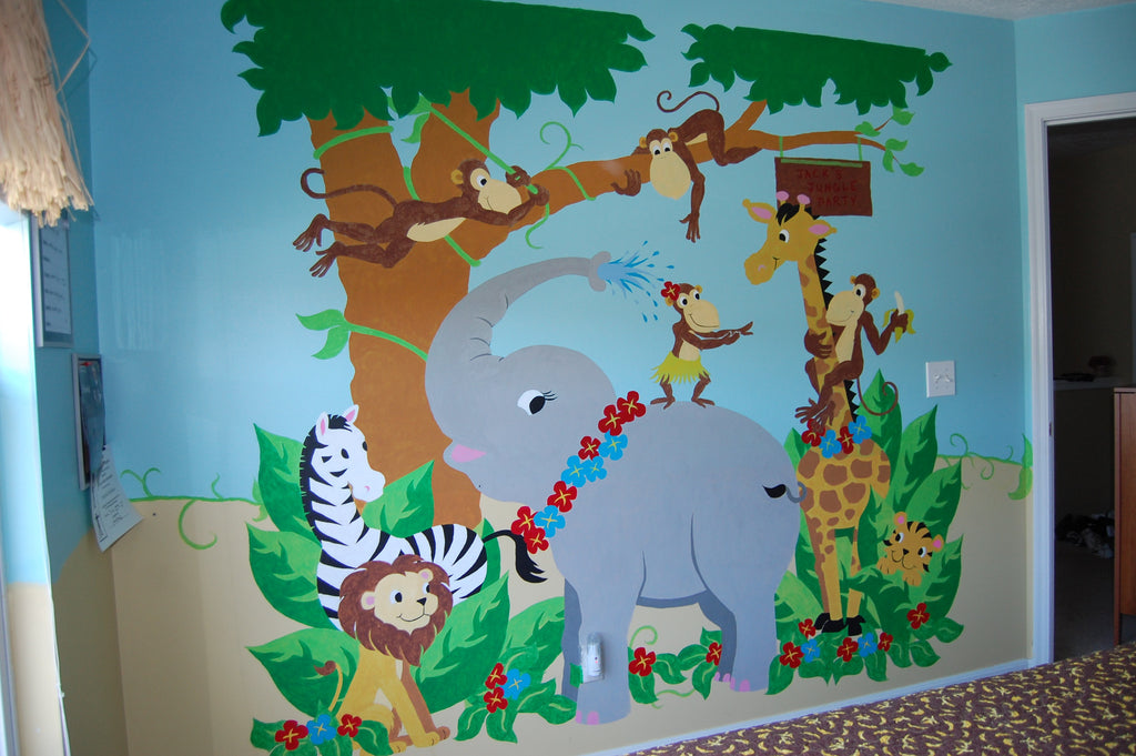 Jungle hula party paint by number wall mural elephants for Cd mural wall display