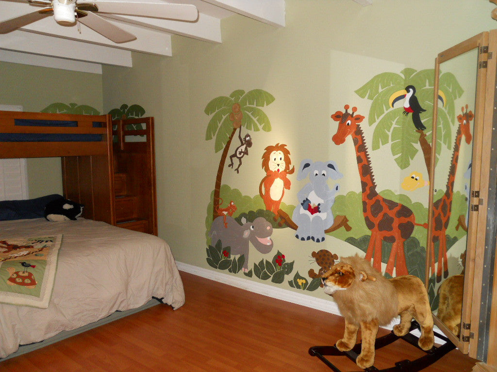 Large Wall Murals jungle story - large paint-by-number wall mural – elephants on the