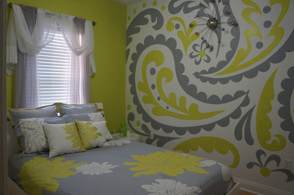 paisley paint by number wall mural elephants on the wall. Black Bedroom Furniture Sets. Home Design Ideas
