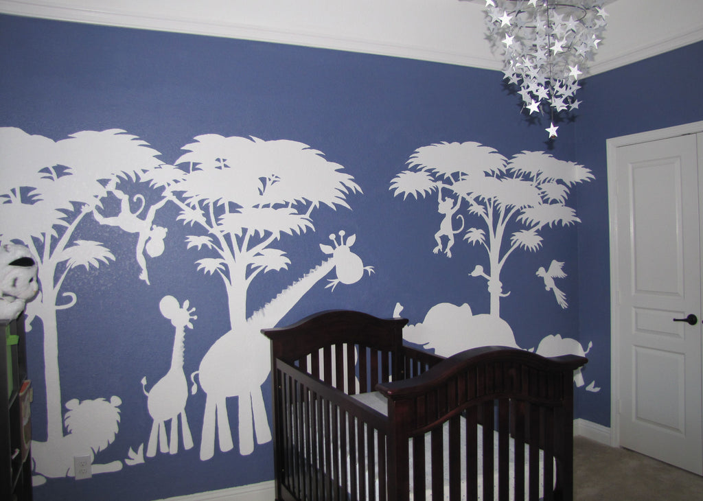 Large Silhouette Safari Paint by Number Wall Mural Elephants on