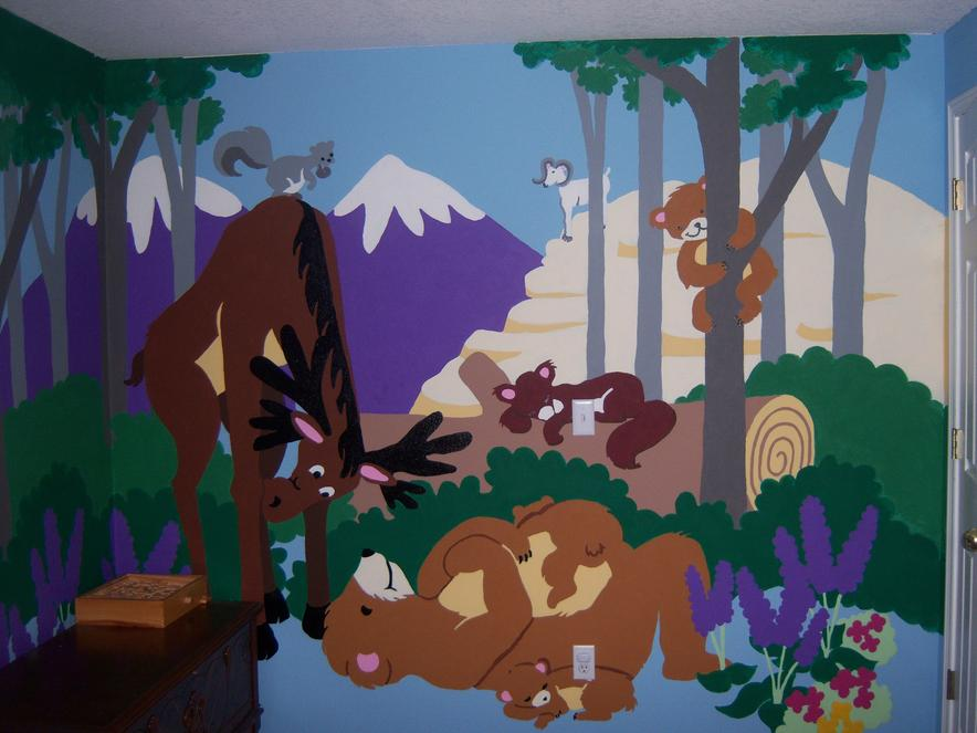 Paint-by-Number Jungle Mural
