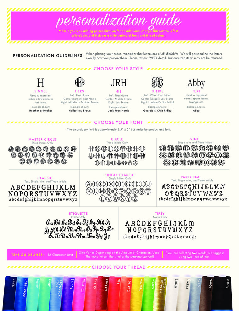Font and Thread Color Chart