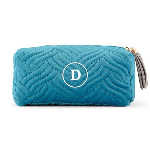 Monogrammed Velvet Quilted Turquoise Cosmetic Bag