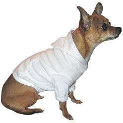 Small Dog White Hooded Tee Shirt with Pocket
