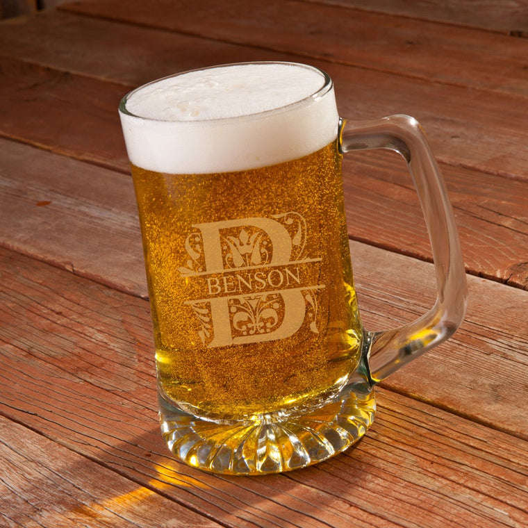 Engraved Filigree Style Personalized Beer Mug 25 oz.