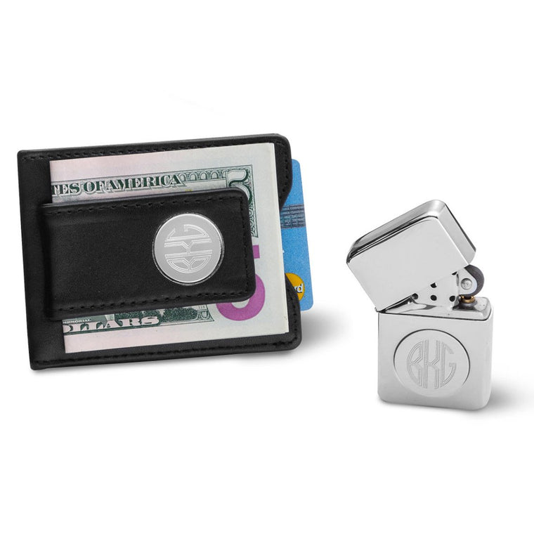 Men's Black Leather Money Clip Wallet Duo and Chrome Lighter
