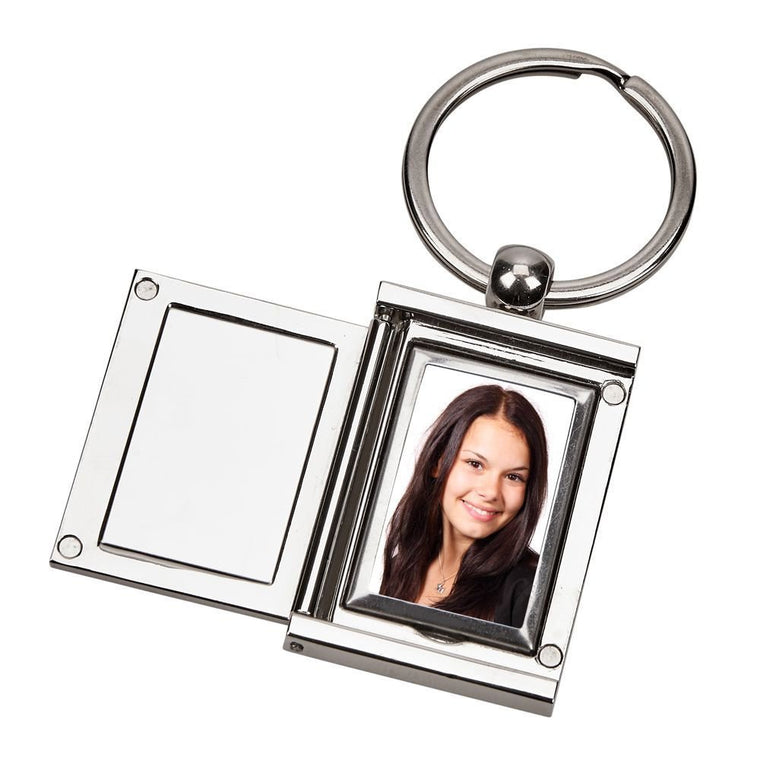 Engraved Square Silver Locket Key Chain