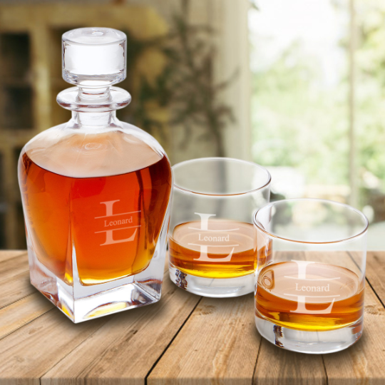 Engraved Whiskey Decanter and Low Ball Glass Set
