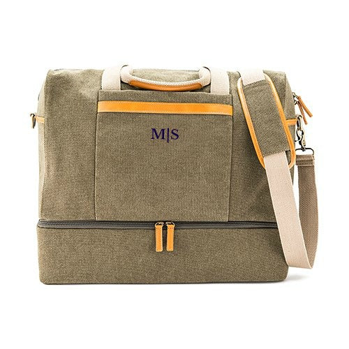 Mens Monogrammed Genuine Leather and Canvas Weekend Bag