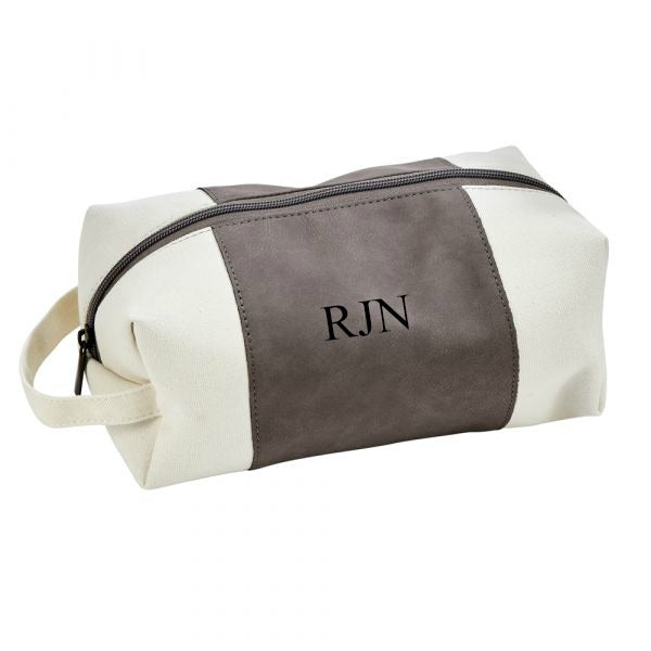 Monogrammed Gray Faux Leather Dopp Kit