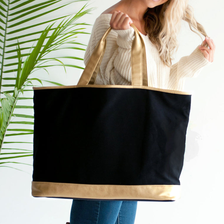 Monogrammed or Personalized Large Cabana Tote Black in Black and Gold