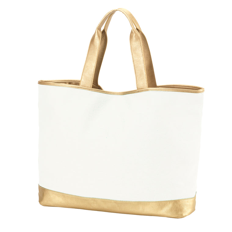 Cream and Gold Monogrammed Large Tote Bag