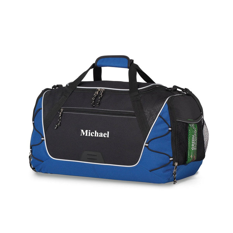 Personalized Royal Blue and Black Sports Duffel Bag