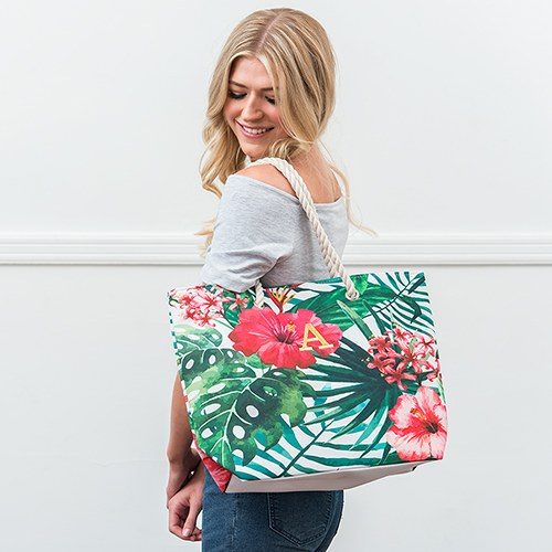 Large Hibiscus and Palm Tote Bag