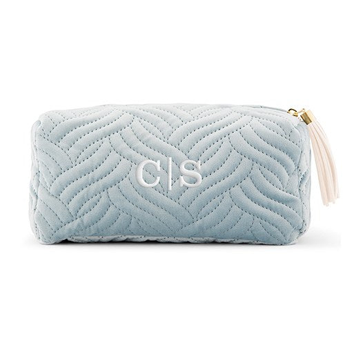 Monogrammed Spa Blue Quilted Velvet Cosmetic Bag