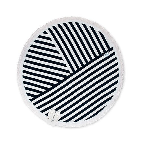 Personalized Navy and White Striped Round Beach Towel