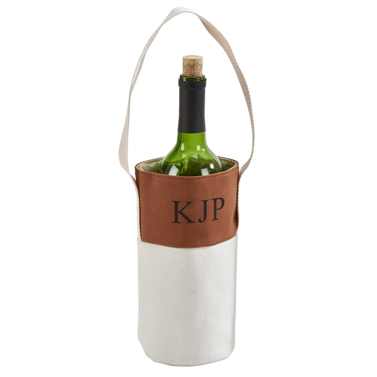 Monogrammed Camel Faux Leather and Canvas Wine Tote