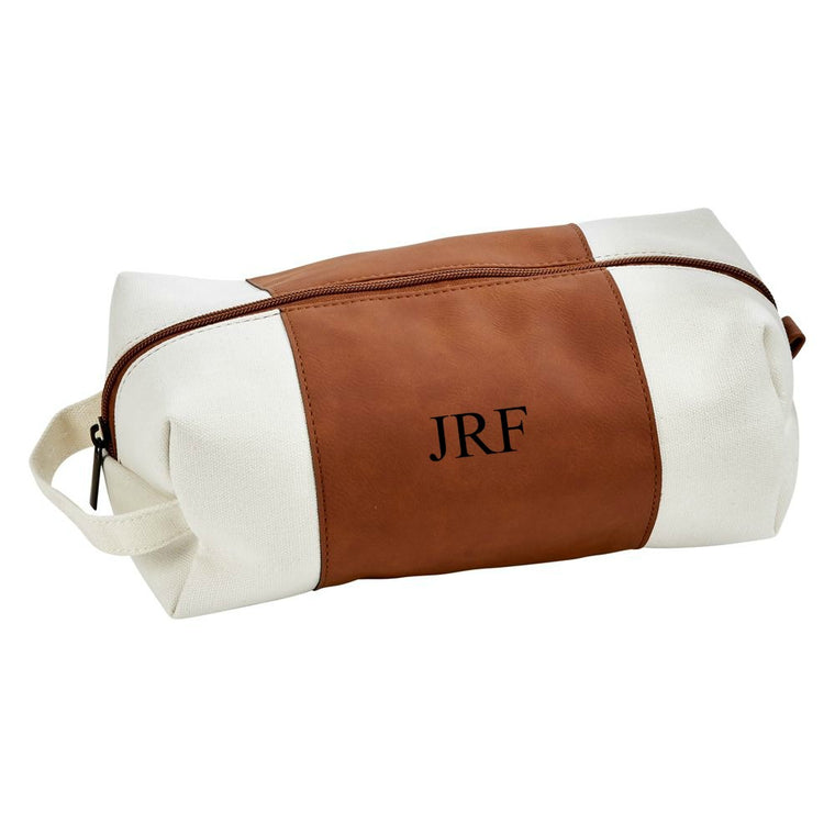Monogrammed Camel Faux Leather and Canvas Toiletry Bag