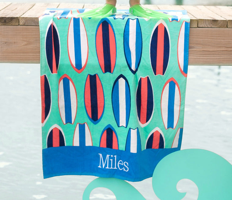 Personalized Kids Surf Boards Beach Towel