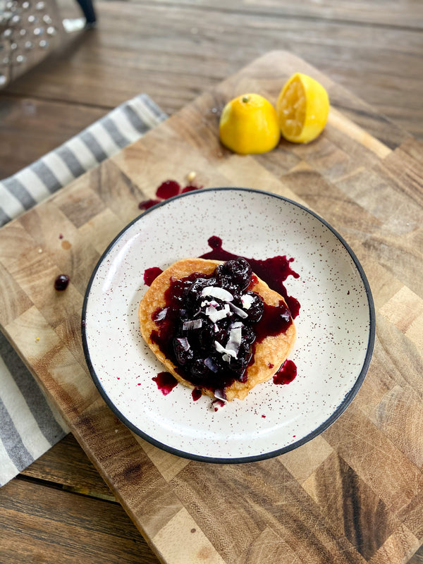 Lemon Pancakes with cherry blueberry sauce