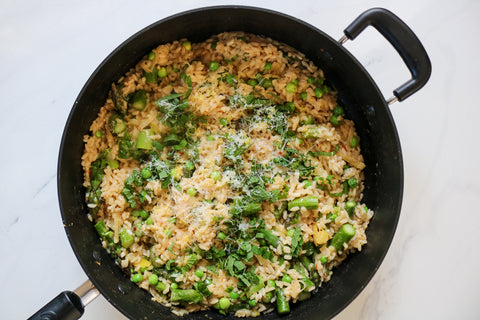 Spring Risotto with leeks, asparagus and peas