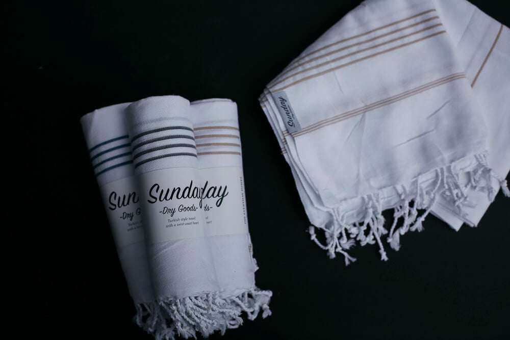 Everyday White Base Turkish Towel- Sunday Dry Goods- Picot Collective- Victoria BC