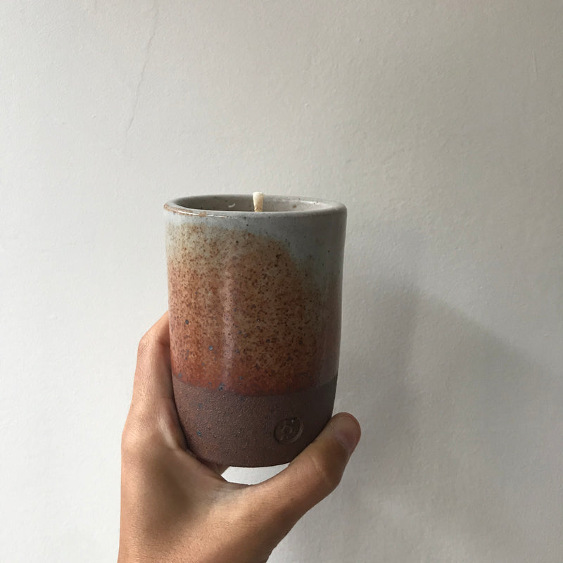 Thomas Mihalik Ceramic Honey Tobacco Candle: three