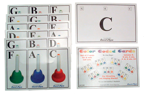 7 COLOR CODED HANDBELL CARDS