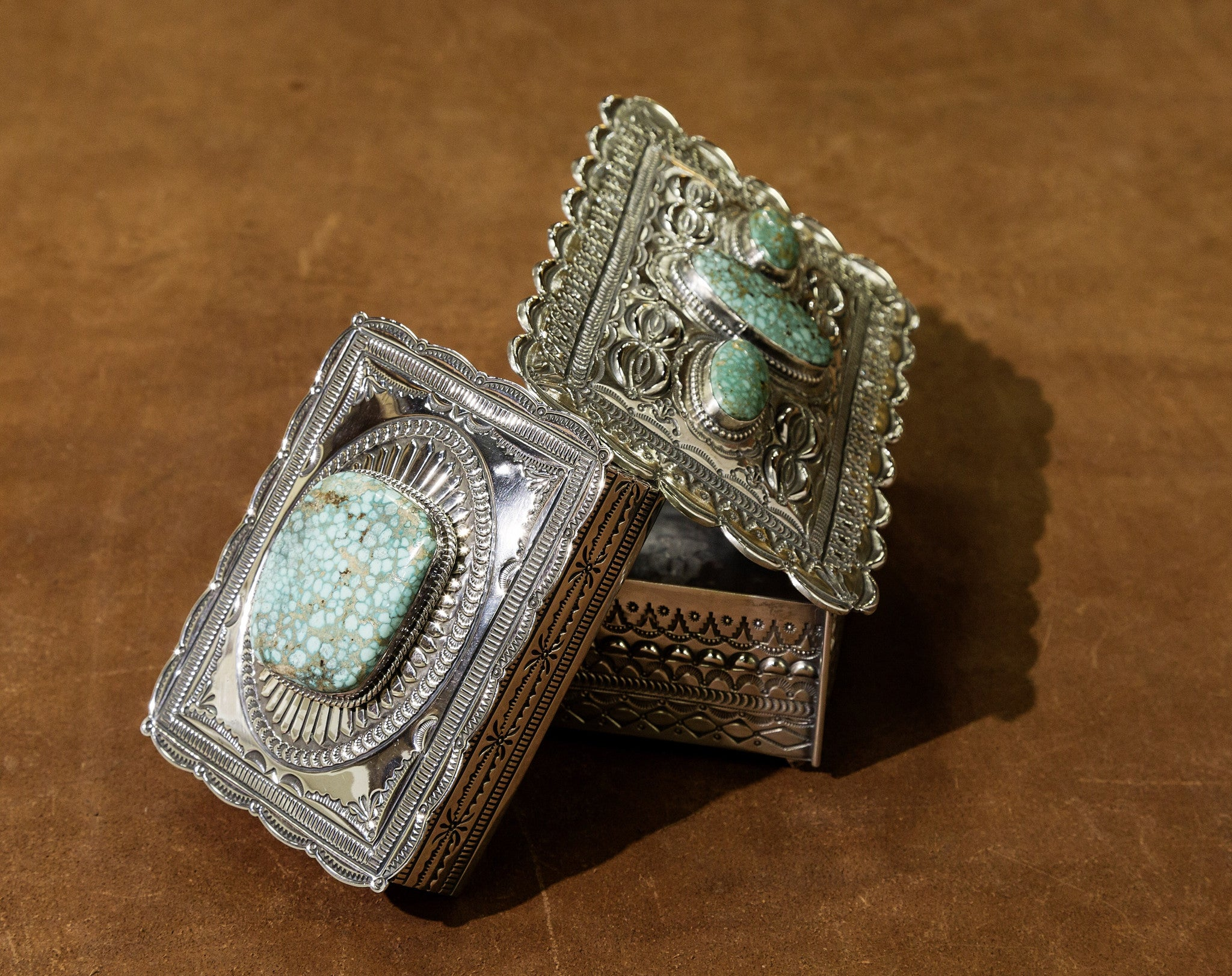 Sterling Silver and American Turquoise Boxes