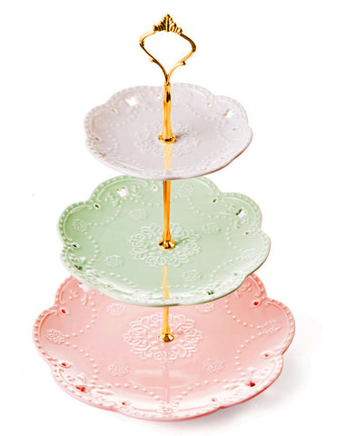 Jusalpha® 3-tier Porcelain Cake Stand-Dessert Stand-Cupcake Stand-Tea Party Serving Platter (Gold)