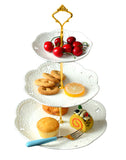 Jusalpha® 3-tier Ceramic Cake Stand-cupcake Stand- Dessert Stand-tea Party Serving Platter (3RW Gold)