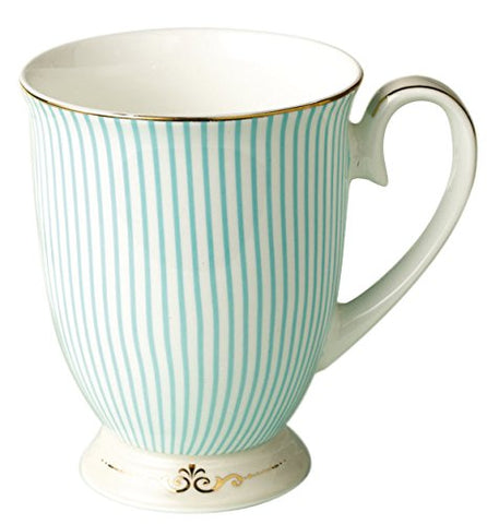 Jusalpha Royal Fine Bone China Light Blue Stripe Coffee Mug/Tea Cup/Gift Box (Mug02)