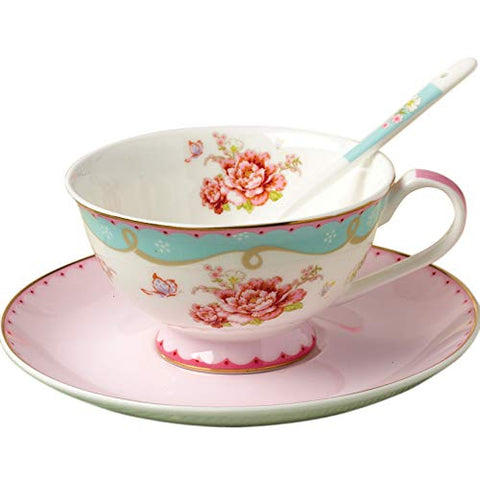 Jusalpha vintage rose bone china tea cup/Coffe cup spoon and saucer set (TCS03)