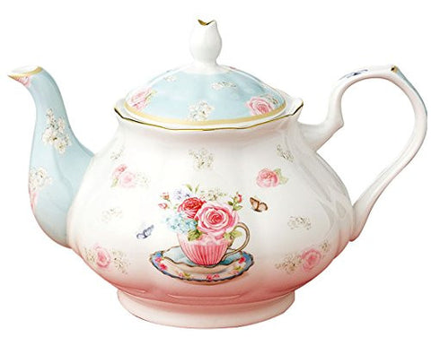 Jusalpha® Royal Floral Fine Bone China Rose Vintage Teapot (B)