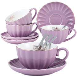 Jusalpha Fine China Pink Coffee Cup/Teacup Set, 8 OZ Cups& Saucer Service for 4, TW(Purple) …
