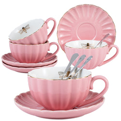 Jusalpha Fine China Pink Coffee Cup/Teacup Set, 8 OZ Cups& Saucer Service for 4,TW (Pink)