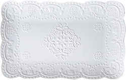 Jusalpha Fine China Rectangle Embossed Lace Plate-1 Piece (12 Inches, White)
