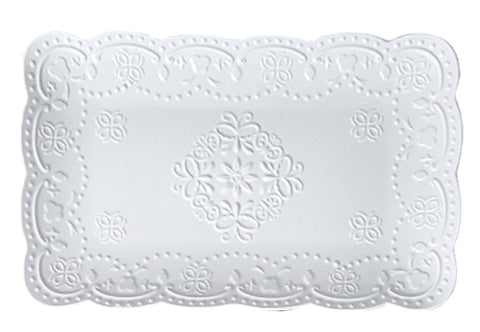Jusalpha White Rectangle Embossed Lace Plate-1 Piece (10 Inches, White)