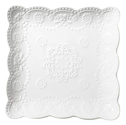 Jusalpha Square Embossed Lace Plate- 4 Pieces (8 Inches, White)